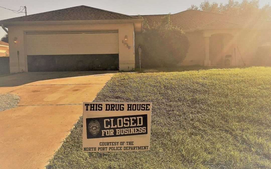 Florida police place yard sign announcing an alleged drug house is 'closed for business'